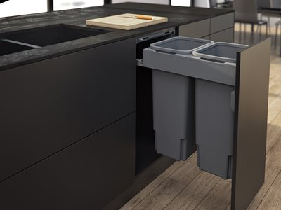 Kitchen interior with under counter bins
