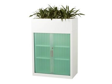 Tambour Door Cabinets for easily storing office supplies by Davell Products l jpg