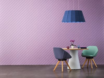 Living interior with purple sustainable acoustic panels