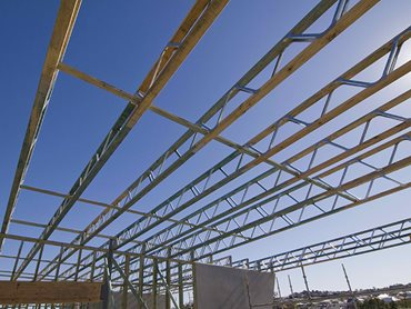 timber steel roofing support structure