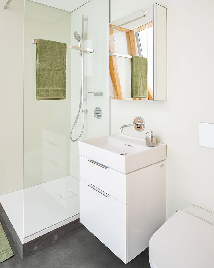 Interior bathroom of smart home completed using digital construction technologies