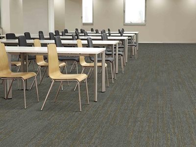 Classroom interior with Ebb Accent sustainable carpets