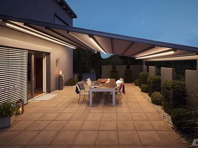 Pergola awning in residential back deck