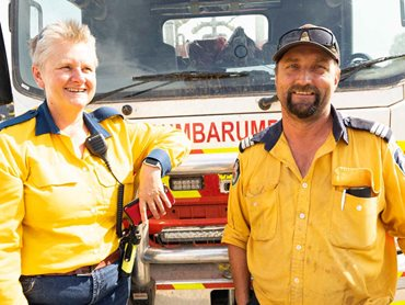 RFS Volunteers and Hyne Timber Team Members, Kim Ferguson and Alan French