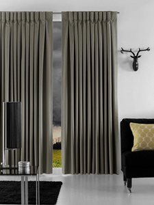 Residential interior with Norfolk decorative curtains