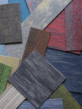 Coloured product swatches of Above Left EcoSoft sustainable carpet tiles