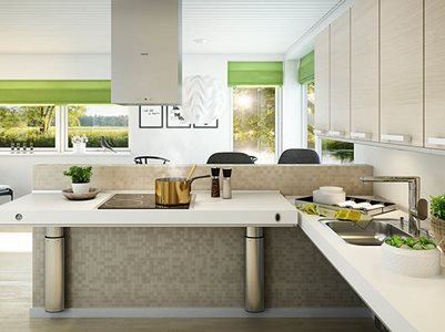 Indivo adjustable stove top used in residential kitchen interior with green accent colours used