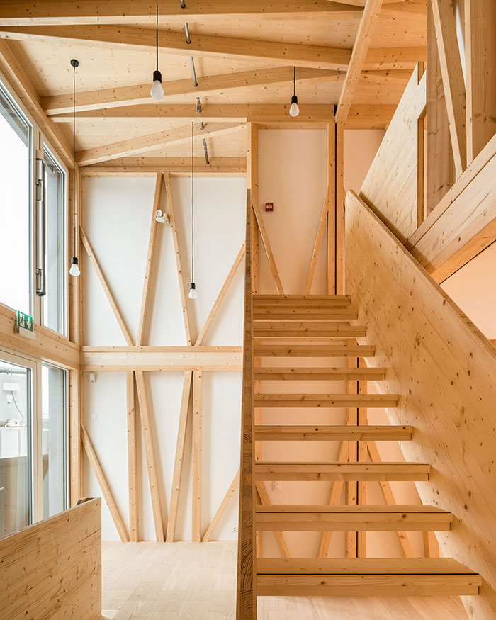 Timber interior of smart home using digital construction technologies