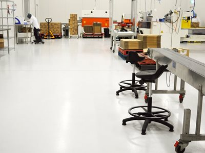 Commercial flooring in factory setting