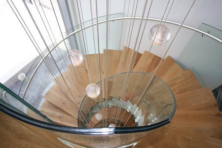 residential banister curved glass