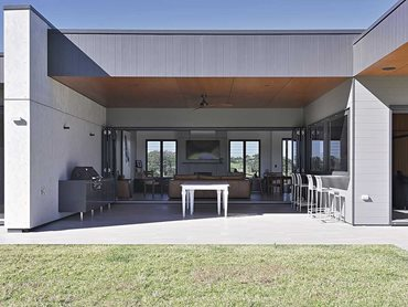 Barestone was used for both the interior and exterior walls of the stud farm home