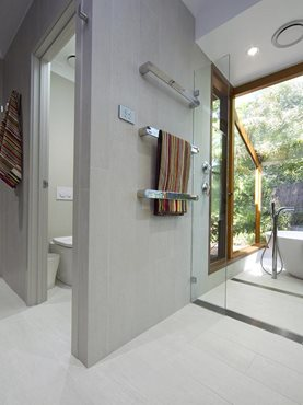 Modern bathroom interior with linear shower drain