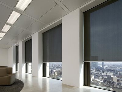 Verosol SilverScreen solar radiation roller blind in commercial office interior