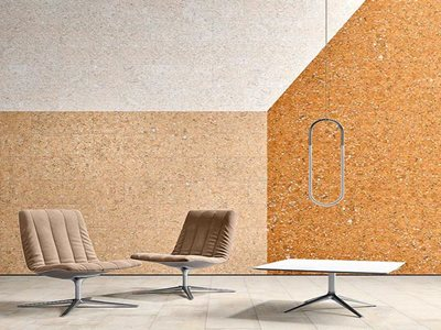 Modern interior with cork wall cladding