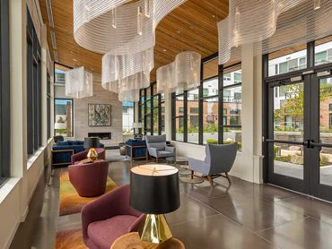 One Lakefront: The lighting fixtures created with Kaynemaile mesh were used in the pavilion lobby