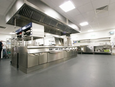 Altro slip resistant and hygienic safety flooring in commercial kitchen
