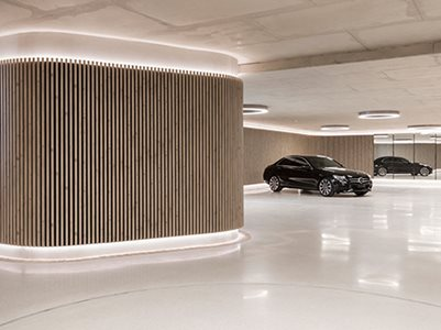 Interior Car Showroom With Timber Look Interior Cladding