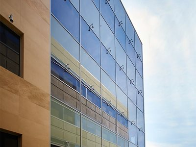 commercial high rise glass facade