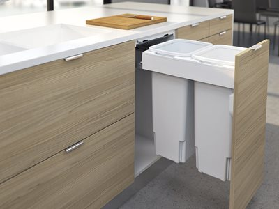 Timber kitchen interior with under counter bins