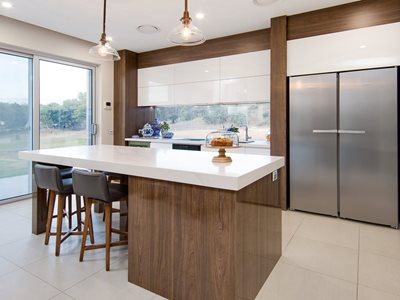 Kitchen interior with laminate decorative surface