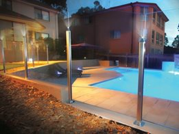 Low Profile Post System with LED Lighting from Dimension One Glass Fencing