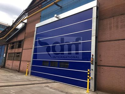 DMF Aluflex PVC fold up door warehouse
