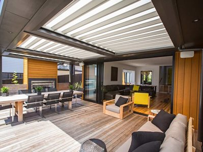 LouvreTec Translucent Opening Roof on Outdoor Patio