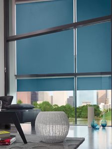 Verosol motorised blinds in residential living room interior