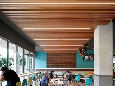 Cafe Timber Ceiling Integrated LED Lights