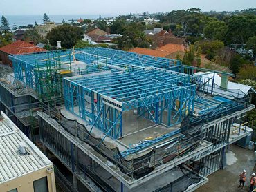 SBS' lightweight steel framing was engineered to support the roof plan platform.