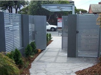 COLORBOND-Steel-and-Aluminium-Slatting-Louvres grey fence Superior Screens