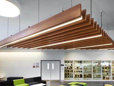 Commercial office interior with aluminium ceiling battens