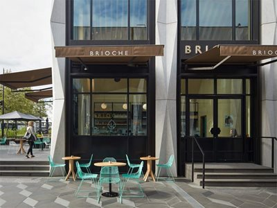 Exterior view of Brioche cafe with low emissivity glass