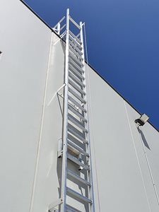 AM BOSS access ladders fall protection system Ladline building exterior side view