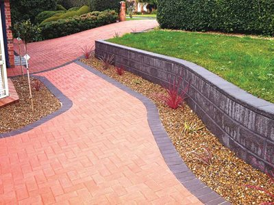 Residential driveway with coloured stone paving