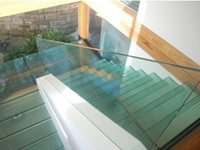 glass stairs and banister