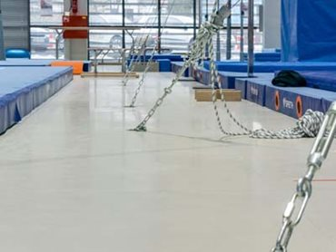 Flowshield LXP seamless resin floor in the main gym hall