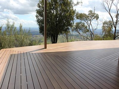 Outdoor deck with non-combustible timber decking