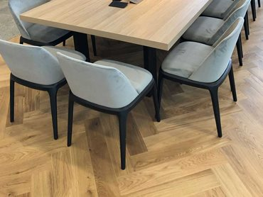 Aintree herringbone engineered timber flooring is from the Design from Havwoods range