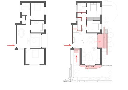 The before and after floor plan of the apartments. Photography by Brigid Arnott.