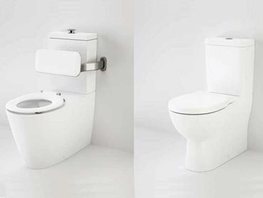 Caroma Care 800 wall faced close coupled toilet and Caroma Opal II wall faced easy height toilet