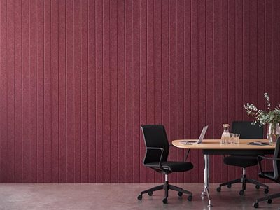 Office interior with sustainable acoustic panels