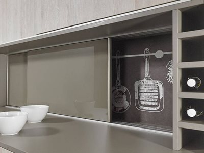 Hettich sliding doors on kitchen cabinet