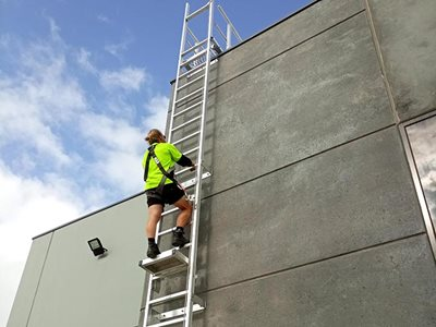 AM BOSS access ladders fall protection system Ladline building