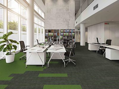 Office interior with Ebb Accent sustainable carpets