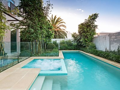 Swimming Pool Jacuzzi Sunset Backyard Residential