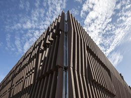 Architectural EnviroSlat decorative screening, fencing, facade and furniture from Futurewood