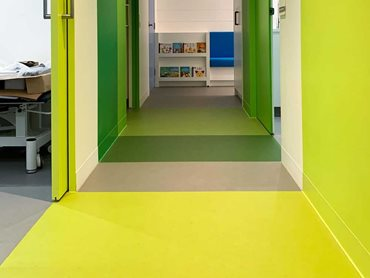 The flooring in 10 outstanding, bright colours ensured a warm, vibrant space.
