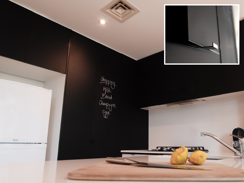 Alifrost® 55 Slimline Black Powder Coat with integrated alihandle  and Midnight Black S2 9221 insert Alifrost® doors with Perspex® Midnight Black inserts make a great chalk board alternative.
