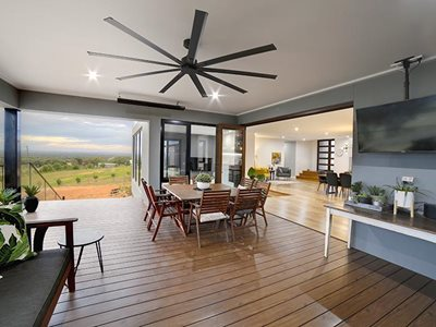 Living room interior with timber decking